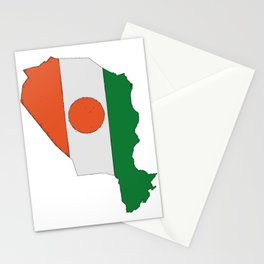 Niger Map with Nigeran Flag Stationery Cards