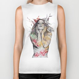 The Withering Spring (nude flower girl with magnolias) Biker Tank