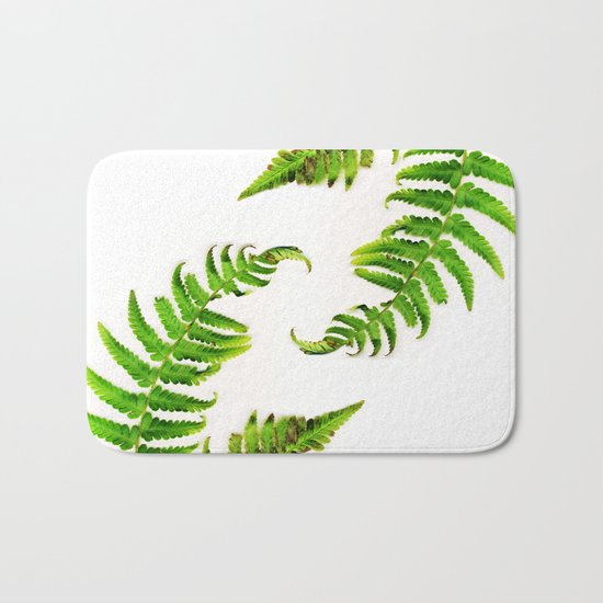 Fern on white - double Bath Mat