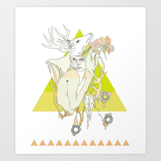 The White Fawn Art Print