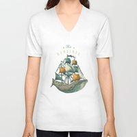 spirit V-neck T-shirts featuring Whale | Petrol Grey by Seaside Spirit