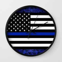 Police Flag with Officers Wall Clock
