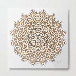 16 Fold Mandala in Orange Metal Print