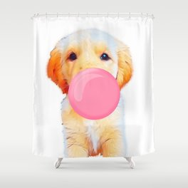 Cute golden retriever with chewing gum Shower Curtain