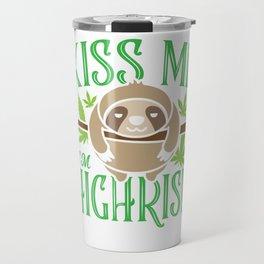 Sloth Weed Cannabis St. Patrick's Day Gift Travel Mug