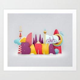 Barcelona ilustrada Art Print