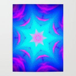pink & blue starburst Poster