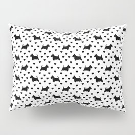 Cute Black Scottish Terriers (Scottie Dogs) & Hearts on White Background Pillow Sham