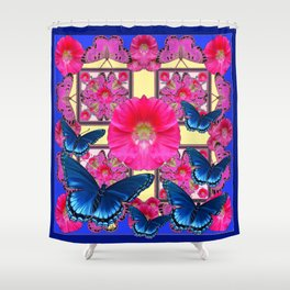 CERISE PINK & BLUE BUTTERFLIES FLORAL ART Shower Curtain