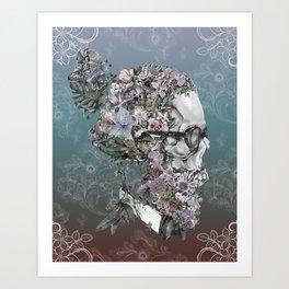 hipster floral skull 3 Art Print