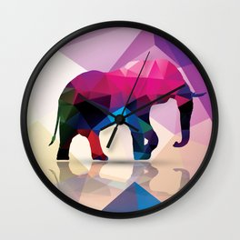 Geometric elephant Wall Clock