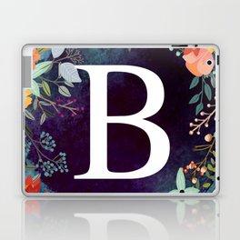 Personalized Monogram Initial Letter B Floral Wreath Artwork Laptop & iPad Skin