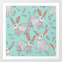 rabbits Art Prints featuring Rabbits by Wee Jock