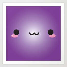 Kawaii Face (Purple) Art Print