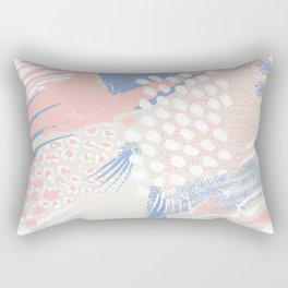 wild cats winter print (rose quartz and serenity) Rectangular Pillow