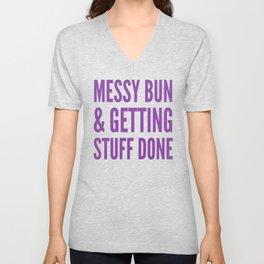 Messy Bun & Getting Stuff Done (Purple Checkered Pattern) Unisex V-Neck