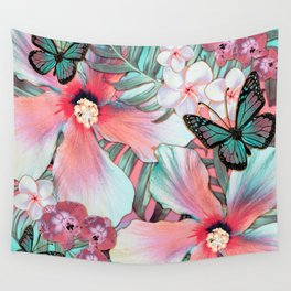 Peachy Mint Hibiscus Tropical Wall Tapestry