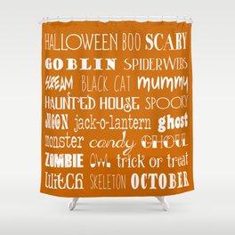 Halloween Orange Typography Shower Curtain