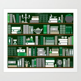 Book Case Pattern - Green and Grey Art Print