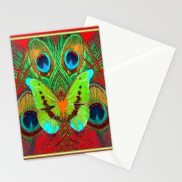 BEAUTIFUL GREEN BUTTERFLY & PEACOCK FEATHERS RED ART Stationery Cards
