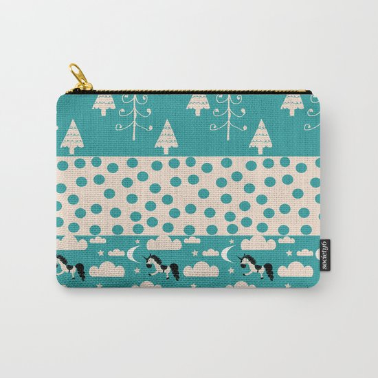 Unicorn Teal patchwork Carry-All Pouch