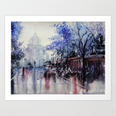 Paris Watercolor painting -  La Sorbonne Art Print