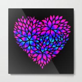 Purple Blue Flower Pattern Heart  Metal Print