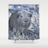 guinea pig Shower Curtains featuring blue guinea pig by MehrFarbeimLeben