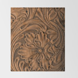 Golden Tanned Tooled Leather Throw Blanket