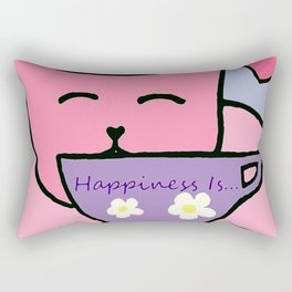 Happiness Is Cats and Tea Rectangular Pillow