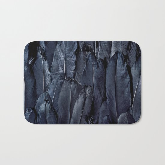 Black Feather Bath Mat