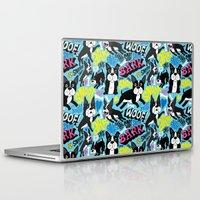 boston terrier Laptop & iPad Skins featuring Boston Terrier Pattern by Chris Piascik
