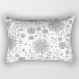 Beautiful Flowers in Faded Gray Black and White Vintage Floral Design Rectangular Pillow