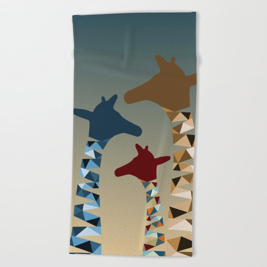 Abstract Colored Giraffe Family Beach Towel