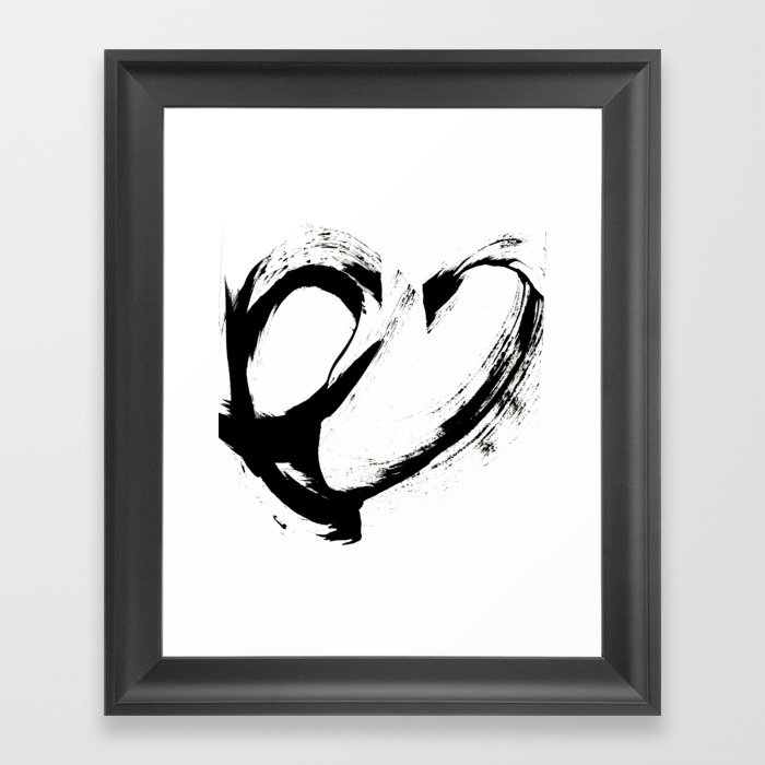 Brushstroke 6: a minimal, abstract, black and white piece Gerahmter Kunstdruck