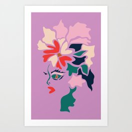 Face in Florals Art Print
