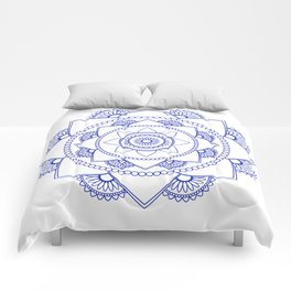 Mandala 01 - Royal Blue on White Comforters