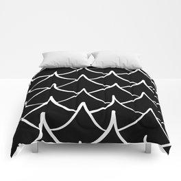 Dark Fish Waves Comforters