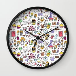 Alice in Doodleland Wall Clock