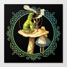 Alice and the Smoking Caterpillar - Alice in Wonderland Canvas Print