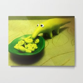 Green Dragocrocophant Eating Fiddleheads Metal Print