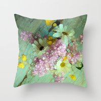 andreas preis Throw Pillows featuring country flowers by Joke Vermeer