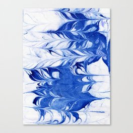 Shigeo - spilled ink abstract painting marble marbling india ink indigo blue bright modern minimal   Canvas Print