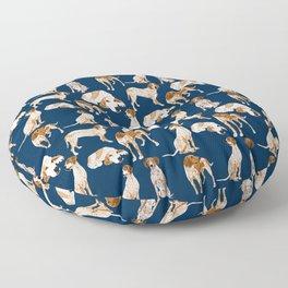Redtick Coonhounds on Navy Floor Pillow