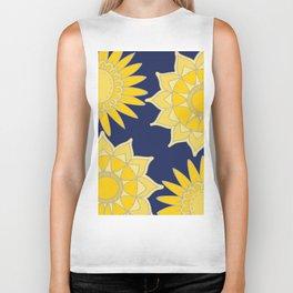 Sunshine yellow navy blue abstract floral mandala Biker Tank