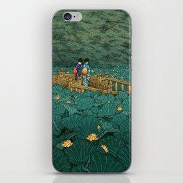 Vintage Japanese Woodblock Print Kawase Hasui Japanese Children Lotus Flowers Garden Wooden Bridge iPhone Skin