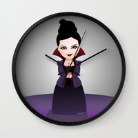 regina mills Wall Clocks featuring Kokeshi Regina by Pendientera