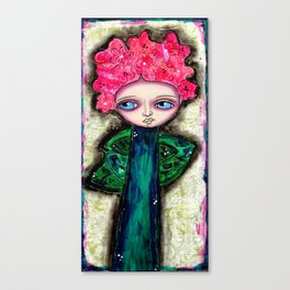 Mixed Media Flower Girl 6 Pink Canvas Print