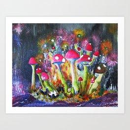 Who loves Mushrooms? Art Print