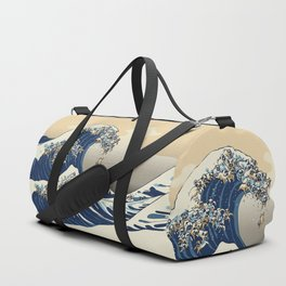 The Great Wave of Pugs Vanilla Sky Duffle Bag